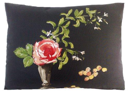 Santa Fe Vase - Red Rose Design Pillow Throw Case Vase Cushion Flower Fabric Perroquet Black 16