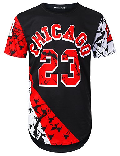 Mens Bulls T-shirts Chicago (URBANTOPS Mens Hipster Hip Hop Chicago 23 Bulls Longline T-Shirt Black, XXL)