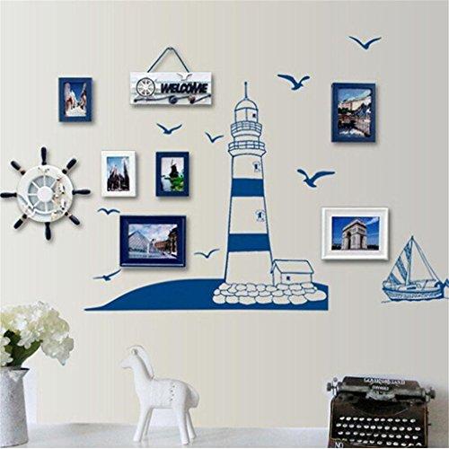 UNKE Tower Sailboat Seagull Wall Sticker Home Art DIY Home (Sea Gull Wall Decoration)