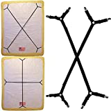 KENTAL 2pcs Sheet Bed Suspenders Adjustable Crisscross Fitted Sheet Band Straps Grippers Adjustable Mattress Pad Duvet Cover Sheet Corner Holder Elastic Fasteners Clips Clippers