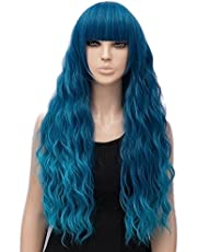 netgo Women's Teal Wig Long Fluffy Curly Wavy Blue Hair Wigs for Girl Synthetic Wigs