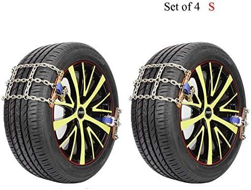 タイヤチェーン スノーチェーンアンチスキッド、タイヤ幅165〜285ミリメートルロックbucle滑り止めチェーンのための緊急トラクション (Color : 4pcs, Size : L ((235-285MM))
