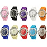 10 Assorted Geneva Crystal Rhinestone Large Face Watch Silicone Jelly Link Band