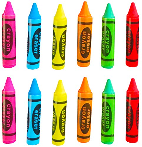 Hobby Monsters Crayon Shaped Erasers - 12 Pack - 2.5 Inch - Great Toy / Art Supply for Party Favors, Teacher Incentives, Art Projects, Carnival Prizes.