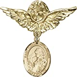 14kt Yellow Gold Baby Badge with St. Finnian of Clonard Charm and Angel w/Wings Badge Pin 1 1/8 X 1 1/8 inches