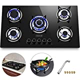 gas cooktop 36 inch Happybuy 36x21 inches Built in Gas Cooktop 5 Burners Gas Stove Cooktop Tempered Glass Cooktop Gas Hob With Liquid Propane Conversion Kit Thermocouple Protection and Easy to Clean