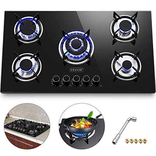 Happybuy 36x21 inches Built in Gas Cooktop 5 Burners Gas Stove Cooktop Tempered Glass Cooktop Gas Hob With Liquid Propane Conversion Kit Thermocouple Protection and Easy to Clean