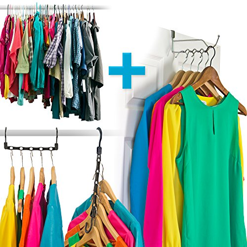 Amazing Space Saving Hangers Closet Organizer (10 Pack) PLUS A Single Hook  Over The Door Hanger Rack   Organise Bedroom, Bathroom, Closets   Hang  Shirts, ...