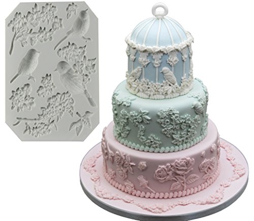 The Easiest Bird Blossoms Fondant mold Cake Decorating Tools Non stick Gumpaste Flowers Chocolate Candy Clay Moulds