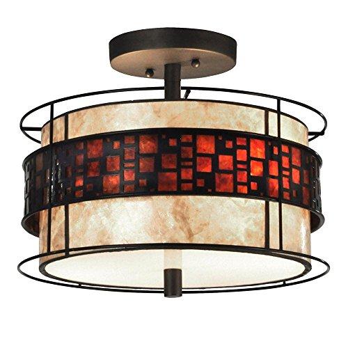 Dale Tiffany Cobblestone 2-Light Dark Bronze Semi-Flush Mount Light