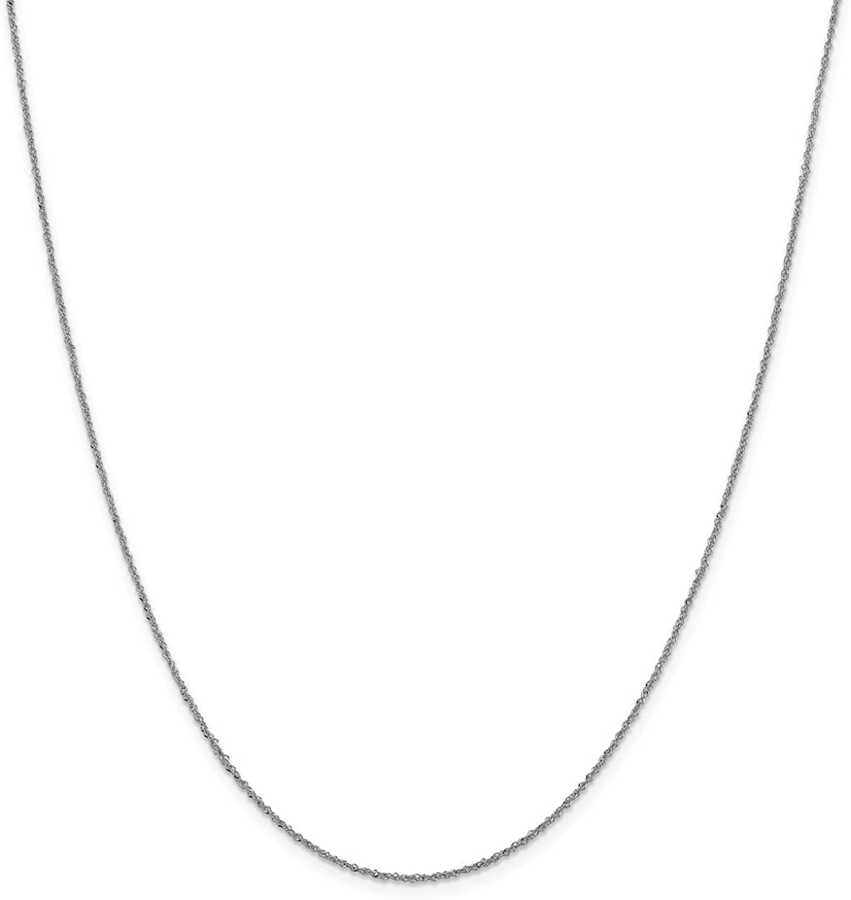 Lex /& Lu Leslies 14k White Gold Sparkle Singapore Chain Necklace LAL92056