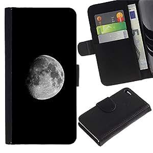 Protector de cuero de la PU de la cubierta del estilo de la carpeta del tirón BY RAYDREAMMM - Apple Iphone 4 / 4S - Luna oscura