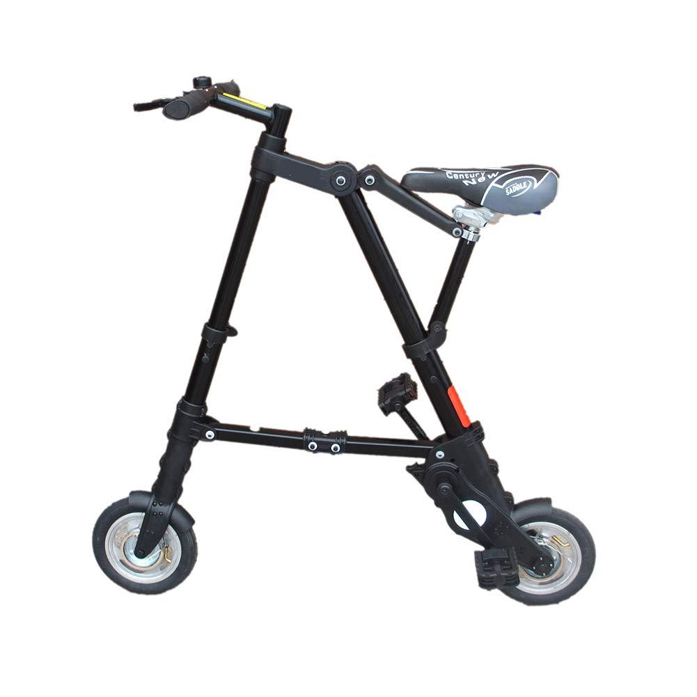 DT Bicicleta Plegable Plegable Ultraligera de 8 Pulgadas Mini Bicicleta portátil de 10 Pulgadas (Color : Negro, Tamaño : 8 Inches)