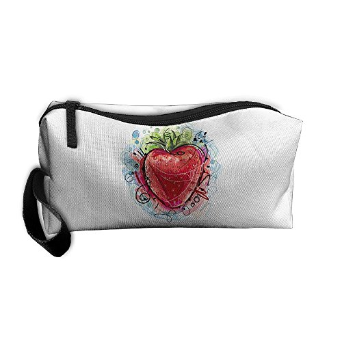 Cosmetic Bags With Zipper Makeup Bag Red Strawberry Middle Wallet Hangbag Wristlet Holder -