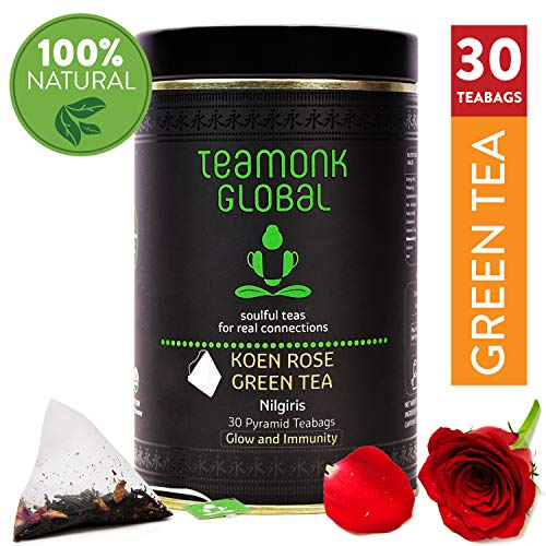 Nilgiri Rose Green Tea, 30 Teabags | Nourishes Glow from Within, Helps Build Immunity | 100% Natural Rose Petals with Whole Leaf Green Tea | No Additives