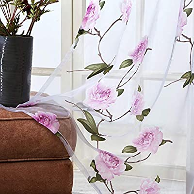 Topfinel Purple Voile Curtains Eyelet 118x98 Drop Single Panel Burnt Floral Printed Patten Sheer Drapes Window Treatments for Bedroom Living Room Porch Patio Door 300cmx250cm