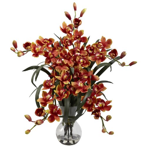 Nearly Natural Home Indoor Decorative Tabletop Large Cymbidium With Vase Arrangement Burgundy
