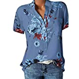 Hengshikeji Womens Blouses 2019 Summer Tops T-Shirt Loose Fashion Tops Short Sleeve Shirt Loose Pullover Top Plus Size Blue