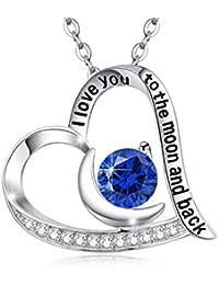 Geniune Swiss Blue Topaz Gemstone Pendant Necklace Moon...