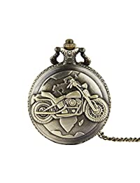 Relojes de Bolsillo Motocicleta patrón clásico reloj de bolsillo esculpido Vintage reloj de bolsillo de cuarzo con cadena for hombres mujeres Reloj con Cadena ( Color : Latón , tamaño : Un tamaño )