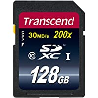 Transcend 128GB SDXC Class 10 Flash Memory Card Up to 30MB/s (TS128GSDXC10E)