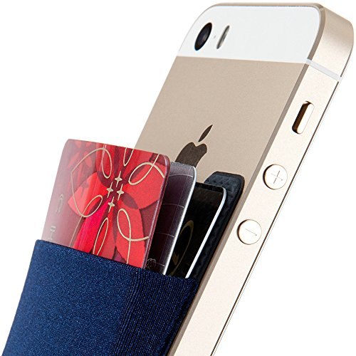 Sinjimoru Card Holder for Back of Phone, Stick on Wallet functioning as Credit Card Holder, Phone Wallet and iPhone Card Holder/Card Wallet for Cell Phone. Sinji Pouch Basic 2, Navy.
