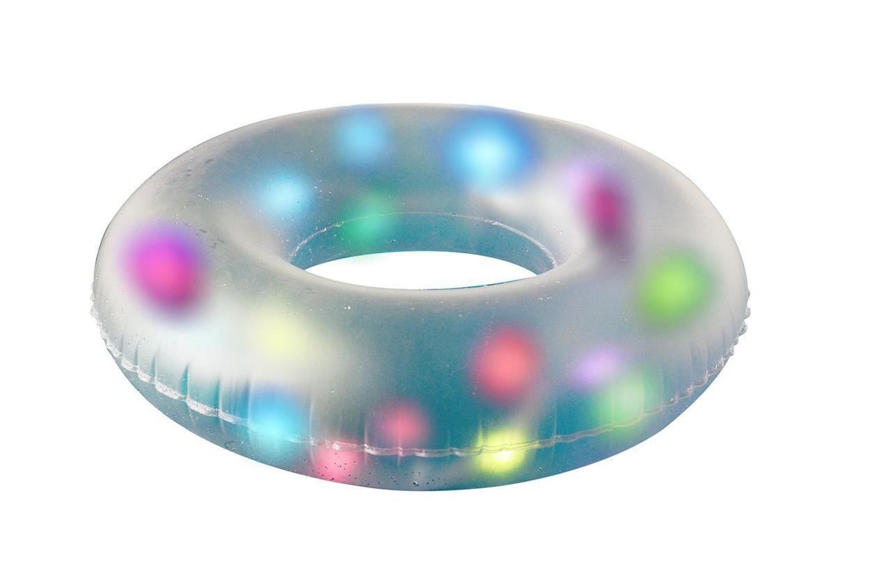 Fineway. New Inflatable Lilo Mattress Pool Lounger with Internal Multi-Colour LED's and Patch Repair Kit