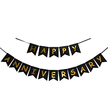 amazon com innoru happy anniversary banner gold foiled sign