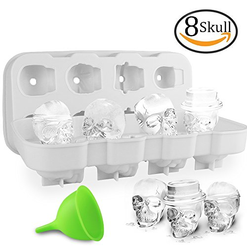 Skull For Halloween (HoneyHolly 3D Skull Ice Cube Mold With Lid, Flexible Food Grade Silicone Ice Cube Chocolate Candy Mold Trays, Perfect For Kids Halloween Gifts, BPA Free - 8 Skull White)
