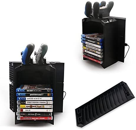 PS4 Storage Tower Holder Stand & Dual Charger Dock for Sony Dualshock 4 Controller / Gamepad - Stores 12 Games - PlayStation 4 by Hermitshell by Hermitshell: Amazon.es: Videojuegos