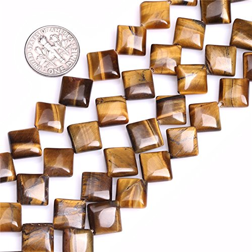 Tiger Eye Beads for Jewelry Making Natural Gemstone Semi Precious 10mm Square 15