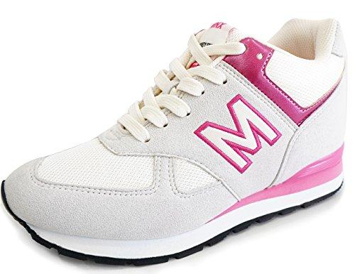 MNX15 Women's Elevator Shoes Height Increase 3.5″ RAY BEIGE (5.5 D(M)US / 225mm(KOR), Beige)