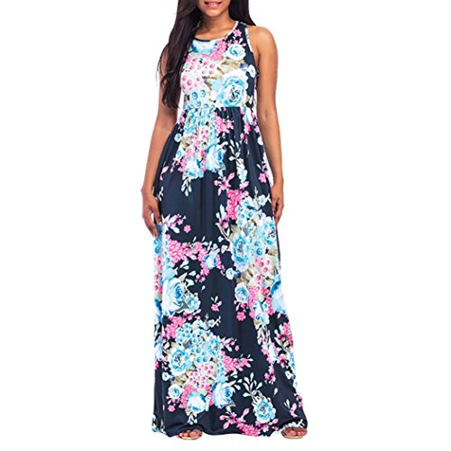 (AmyDong Hot Sale! Ladies Dress Women Sleeveless Floral Print Maxi Dress with Pockets Ladies Summer Beach Skirts and Skirts Elegant Dress (M, Dark Blue))
