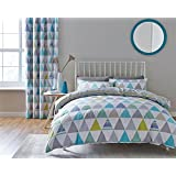 GEOMETRIC TRIANGLES STRIPES TEAL COTTON BLEND CANADIAN QUEEN SIZE (230CM X 220CM - UK KING SIZE) DUVET COMFORTER COVER