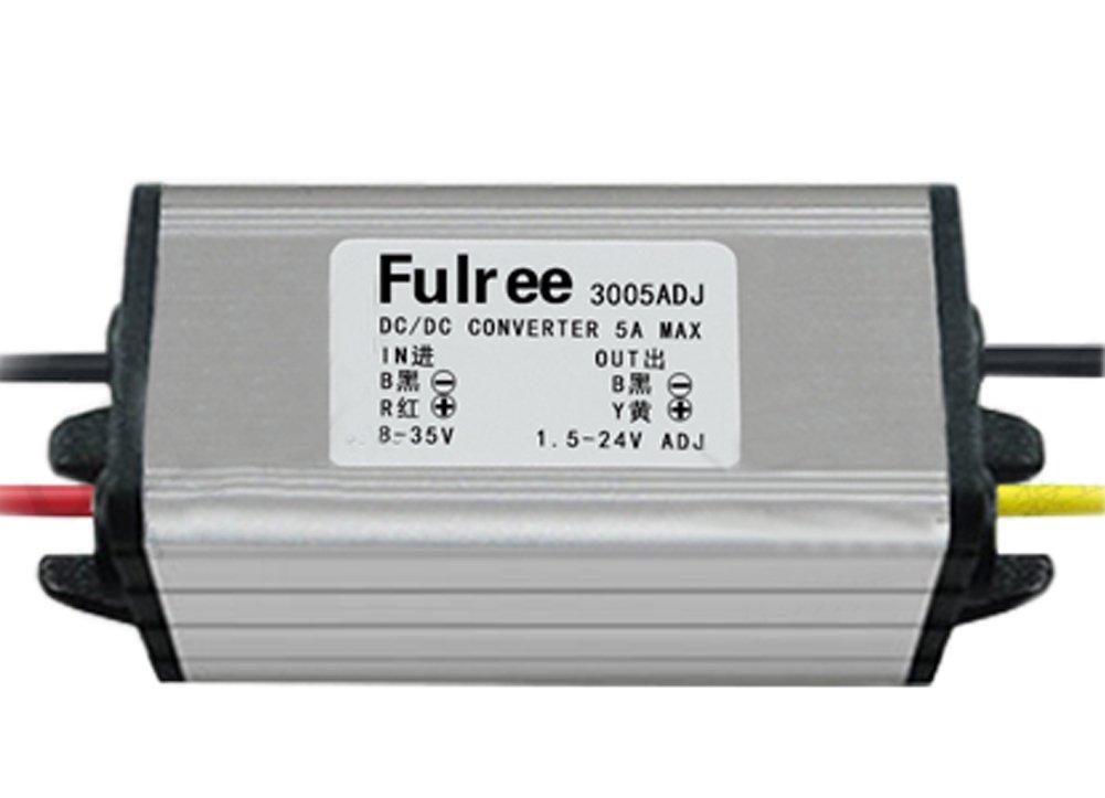 Yeeco Waterproof DC 8-35 24V 12V to 1.5-24V Adjustable Buck Converter Voltage Regulator Reducer 12V to 5V 5A Step Down Power Supply Module SR Voltage Transformer Board for LED Display Vehicle Audio