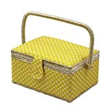 D&D Sewing Basket with Sewing Kit Accessories - Yellow Polka Dots