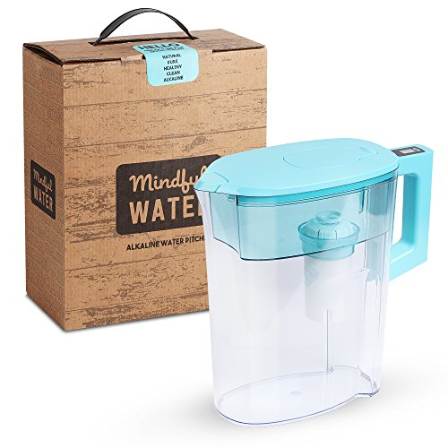 Alkaline Water Filter Pitcher by Mindful Water – 2 x Premium Quality 7 Stage Filtration System with Digital Indicator – Handle removes for easy storage – Turquoise