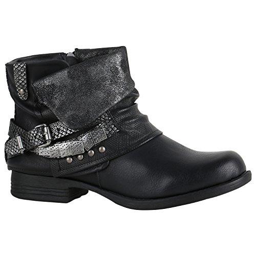 50afc05e98b9 Stiefelparadies Damen Stiefeletten Biker Boots Schnallen Nieten Knöchelhohe Stiefel  Leder-Optik Flandell Schwarz Silber Camiri