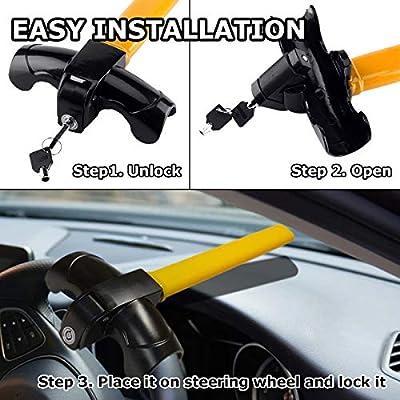 VaygWay Car Steering Wheel Lock – Car Anti-Theft Wheel Lock – Auto Security Travel Locking Gear – Universal Car Truck Van SUV: Automotive