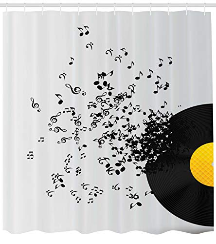 """Ambesonne Music Shower Curtain, Abstract Design Flying Music Notes Disc Album Dancing Nightclub Print, Cloth Fabric Bathroom Decor Set with Hooks, 75"""" Long, Ivory Black"""
