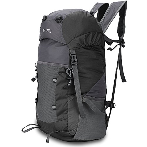 Kalusi Large 35l Lightweight Waterproof Hiking Daypack ,Handy Foldable Outdoor Backpack (BLack)