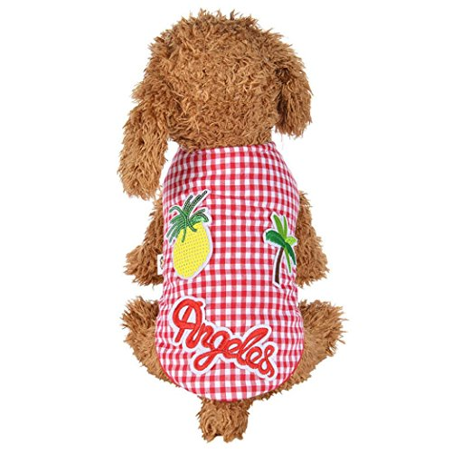 Fence Applique (Mikey Store Pet Dog Clothes Pineapple Embroidery Applique Pet Dog Coat Winter Puppy Jacket (L, Red))