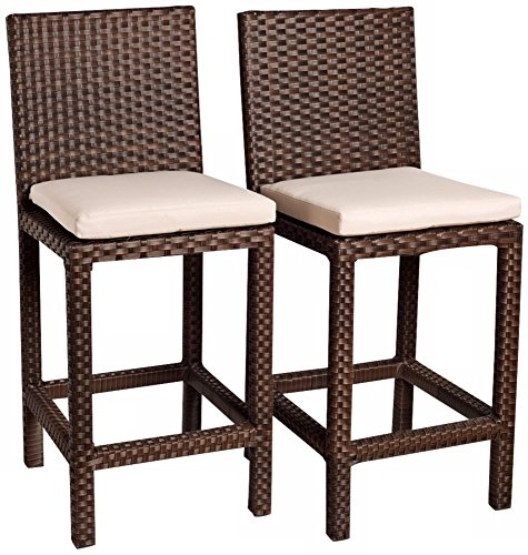 International Home Miami Monza 2 Piece Wicker Patio Barstool Set with Off-White Cushions