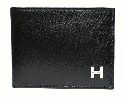 New Tommy Hilfiger Men's Pebble Leather Billfold Passcase & Valet Wallet (Black) (Tommy Hilfiger Pebble)