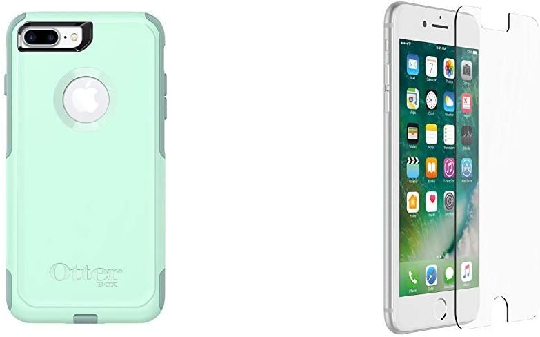 OtterBox COMMUTER SERIES Case for iPhone 8 Plus & iPhone 7 Plus - OCEAN WAY (AQUA SAIL/AQUIFER) & OtterBox ALPHA GLASS SERIES Screen Protector for iPhone 6 Plus/6s Plus/7 Plus/8 Plus CLEAR