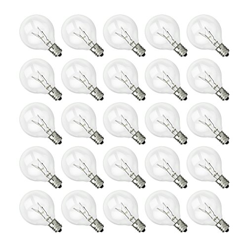 SHINE HAI G40 Clear Glass Globe Bulbs with Candelabra Screw Base, Pack of 25