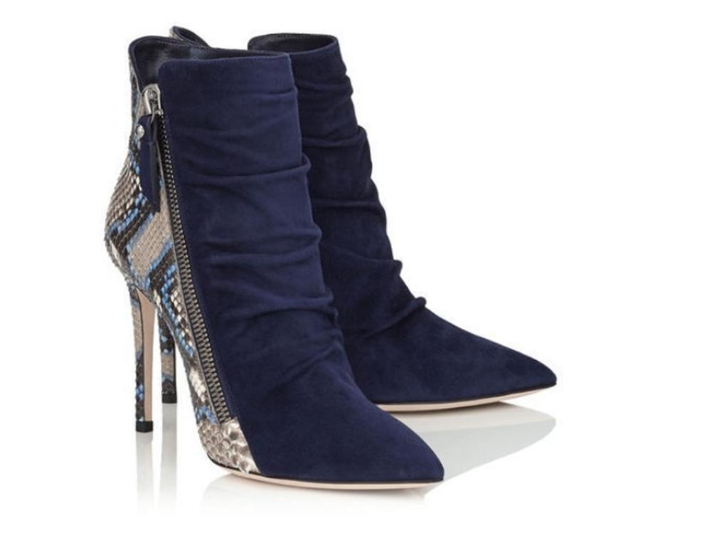 GAIHU Stiefelette Damen Stiefelette GAIHU Stiletto Heel Schuhe Falten Wildleder Serpentine Spitz Blau Herbst Winter schwarz f5029c