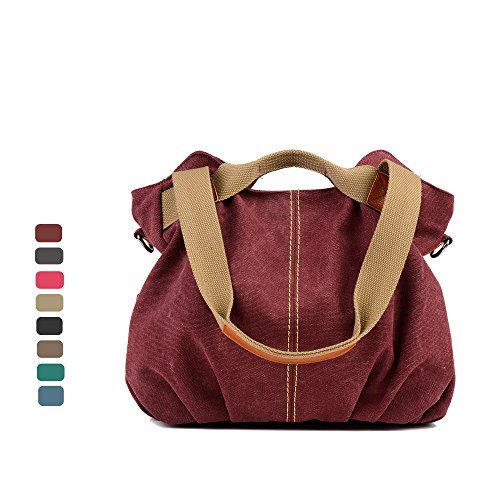 Women Bags Casual Vintage Hobo Canvas Mulit-Pocket Daily Purse Top Handle Shoulder Tote Shopper Handbags ()