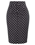 Belle Poque Bodycon Career Office Pencil Skirt Knee Black, L