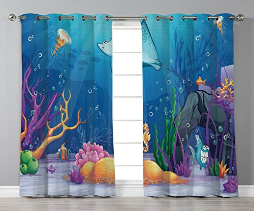 - iPrint Stylish Window Curtains,Ocean Decor,Sealife Navy Fish Moss Shells Bubbles Stones and Sunbeams Rays Cartoon Print,Multicolor,2 Panel Set Window Drapes,for Living Room Bedroom Kitchen Cafe
